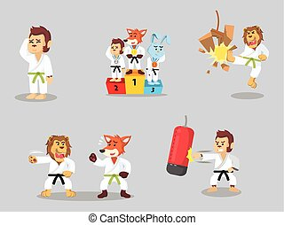 karaté, ensemble, dessin animé, animal