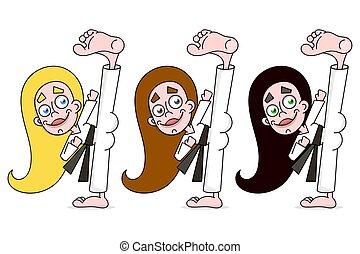 karaté, femme, jeune, illustration