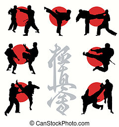 karaté, kyokushin, ensemble, silhouettes