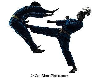 karate, árnykép, vietvodao, rajzóra, harcias, bábu woman, ...
