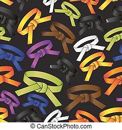 karate, činit, vojenský umění, barva, obkličovat, seamless,...