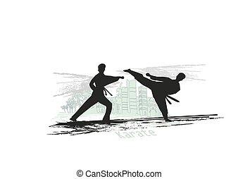 karate, abstract, vechters, illustratie, creatief
