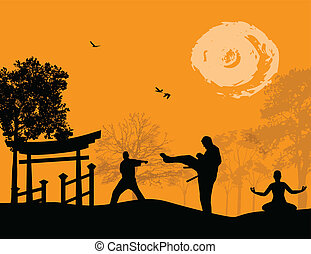 karate, alatt, a, napnyugta