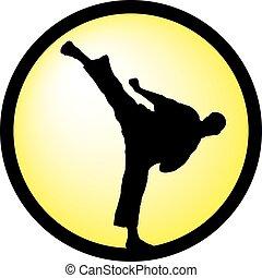 karate, alto, patada, amarillo, logotipo