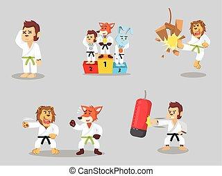 karate animal cartoon set