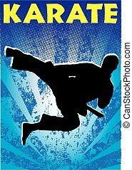 karate, artes marciales, salto, cartel