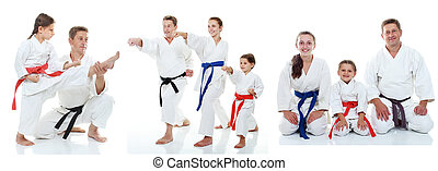 karate, athleten, familie, shows