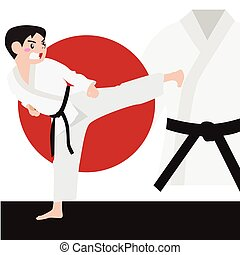 Karate athletic sport vector cartoon illustration set