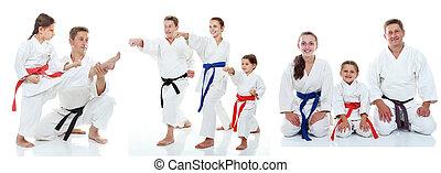 karate, atleci, rodzina, widać