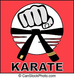 karate, bjj, puño, cinturón, logotipo, fuerte
