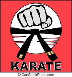 karate, bjj, pugno, cintura, logotipo, forte