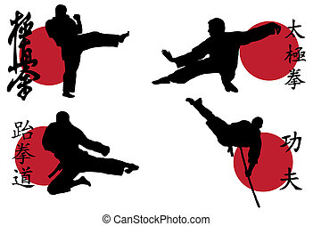 Karate - Black silhouette of karate man prepared for fight