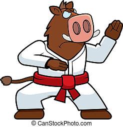 Karate Boar - A cartoon boar doing karate in a gi.