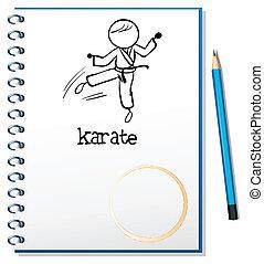 karate, bosquejo, cuaderno, atleta