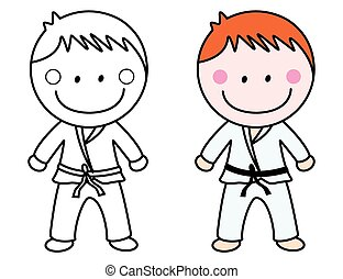 Vector Of Boy Karate And Colored Belts