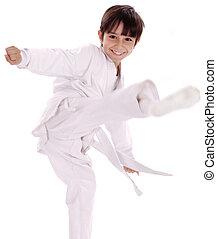 Karate boy excercising isolated white background