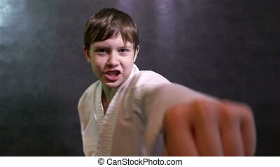 karate boy fighting kid punches at the camera - karate boy...