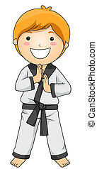 Karate - Boy in Martial Arts Pose with Clipping Path
