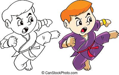 karate, caricatura, niño