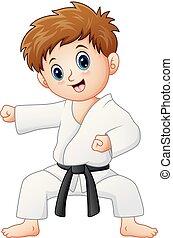 karate, carino, piccolo ragazzo