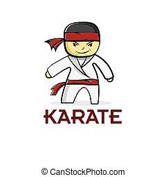 karate, chłopiec, rysunek