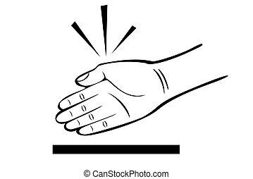 A black and white hand karate chop