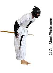 karate, competitie, man, het bereiden, om te vechten