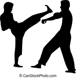 Karate couple fighting
