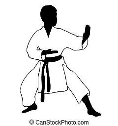 karate, deporte, boy.