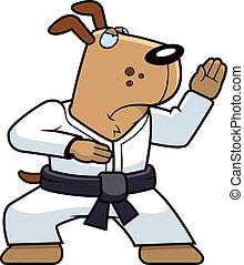 Karate Dog - A cartoon dog doing karate in a gi.