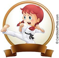 karate, dziewczyna, chorągiew, szablon