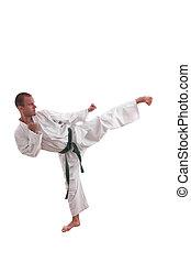 karate, ember, elszigetelt, white
