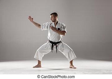 karate, entrenamiento, kimono, blanco, hombre