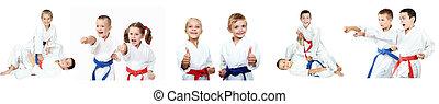 karate, exposición, niños, técnicas