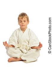 karate, fiú, őt elmélkedik
