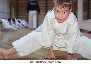 karate, fiú, alatt, sport, előszoba
