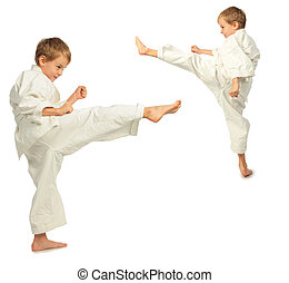 karate, fiú, megrúg, által, lábfej