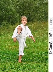 karate, fiú, megrúg, egy, láb, külső