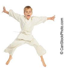 karate, fiú, ugrás