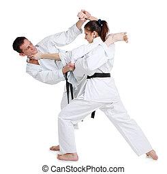 karate., fiatal lány, és, egy, férfiak, alatt, egy, kimono.,...