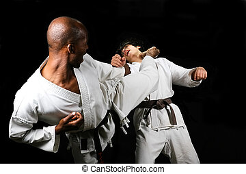 African American versus Caucasian karate fight(kumite) hayashi ha style, black and brown belt, sport series