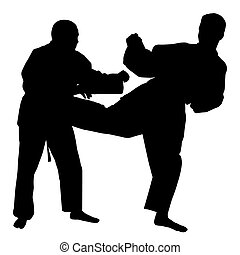 Karate fight - Silhouettes of two karate fighters on...