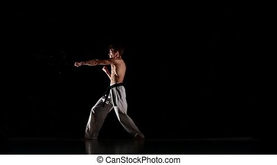 Karate Fighter With Burning Hit, Photo Manipulation, Square...