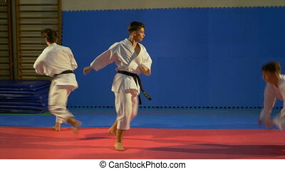 Karate fighters practicing attack and blocking techniques at...