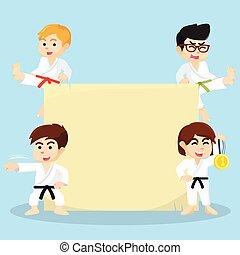 karate, geitjes, en, meldingsbord