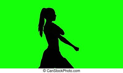 Karate girl. Green. Silhouette - Karate girl, karate...