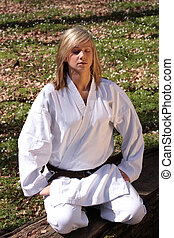 Karate girl - meditation