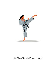 Karate girl sign. Vector Illustration.