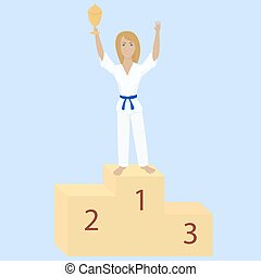 karate girl with award cup - winner karate girl with blue...
