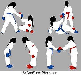 karate girls help